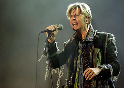 File photo dated 13/06/04 of David Bowie, who has been named a greater entertainer than Charlie Chaplin in a vote conducted by BBC Two, for their historical series Icons, by members of the British public.