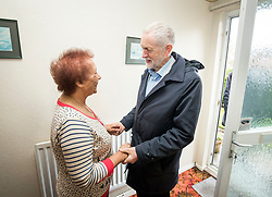 Labour leader Jeremy Corbyn meets Joan Robson while on the campaign trail in Grimsby ahead of the local elections.