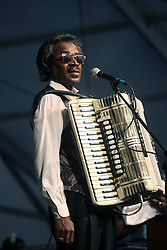 27 April 2012. New Orleans, Louisiana,  USA. .New Orleans Jazz and Heritage Festival. .Stanley Dural, a.k.a. Buckwheat Zydeco performs the Blues Tent..Photo; Charlie Varley.
