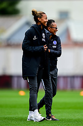 Fern Whelan of Brighton and Hove Albion Women laughs with Brighton and Hove Albion Women manager Hope Powell prior to kick off - Mandatory by-line: Ryan Hiscott/JMP - 07/09/2019 - FOOTBALL - Ashton Gate - Bristol, England - Bristol City Women v Brighton and Hove Albion Women - FA Women's Super League