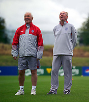 Photo. Jed Wee.<br /> England Training, England v Liechtenstein, European Championship Qualifier, The Cliff, Manchester. 09/09/2003.<br /> England manager Sven Goran Eriksson (R) and assistant Tord Grip enjoy a light moment at training.