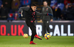 """Arsenal's Alexis Sanchez during the warm up before the Premier League match at Selhurst Park, London. PRESS ASSOCIATION Photo. Picture date: Thursday December 28, 2017. See PA story SOCCER Palace. Photo credit should read: John Walton/PA Wire. RESTRICTIONS: EDITORIAL USE ONLY No use with unauthorised audio, video, data, fixture lists, club/league logos or """"live"""" services. Online in-match use limited to 75 images, no video emulation. No use in betting, games or single club/league/player publications."""
