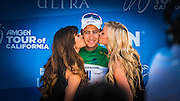 Professional cyclist on the winners podium at the Amgen Tour of California, Santa Barbara, California USA