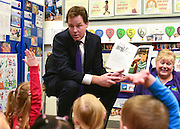 """© Licensed to London News Pictures. 30/05/2013. Gravesend, UK Nick Clegg reads the Children's story """"Peace at Last"""" by Jill Murphy to the class of children. British Deputy Prime Minister and Liberal Democrat MP, Nick Clegg, visits Bright Beginnings Nursery to promote the Governments free childcare for two year olds scheme today 30th May 2013. Photo credit : Stephen Simpson/LNP"""
