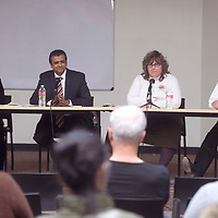 From left, District 1 Councilor Linda Garcia, District 3 Council Yogash Kumar, and candidates for District 3 Angela Chavez and Esco Chavez sit on a panel answering questions during a forum hosted by KGLP and the Gallup Independent at the Chamber of Commerce in Gallup Wednesday.