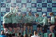 Mortlake/Chiswick, GREATER LONDON. United Kingdom. 2017 Women's Boat Race winners CUWBC, celebrate, winning the race on the Championship Course, Putney to Mortlake on the River Thames.<br /> <br /> Crew:Bow: Ashton Brown – CAN/AUS, 2: Imogen Grant, 3: Claire Lambe – IRL, 4: Anna Dawson, 5: Holly Hill, 6: Alice White, 7: Myriam Goudet – FRA, Stroke: Melissa Wilson and Cox: Matthew Holland Coach, Rob BAKER<br /> <br /> <br /> Sunday  02/04/2017<br /> <br /> [Mandatory Credit; Peter SPURRIER/Intersport Images]
