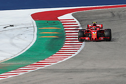 October 21, 2018 - Austin, TX, U.S. - AUSTIN, TX - OCTOBER 21: Ferrari driver Kimi Raikkonen (7) of Finland races turn 7 with debris nearby during the F1 United States Grand Prix on October 21, 2018, at Circuit of the Americas in Austin, TX. (Photo by John Crouch/Icon Sportswire) (Credit Image: © John Crouch/Icon SMI via ZUMA Press)