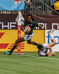 March 10, 2018 - Vancouver, British Columbia, U.S. - VANCOUVER, BC - MARCH 10: Cecil Afrika (#10) of South Africa during Game # 2- South Africa vs Russia Pool D match at the Canada Sevens held March 10-11, 2018 in BC Place Stadium in Vancouver, BC. (Photo by Allan Hamilton/Icon Sportswire) (Credit Image: © Allan Hamilton/Icon SMI via ZUMA Press)