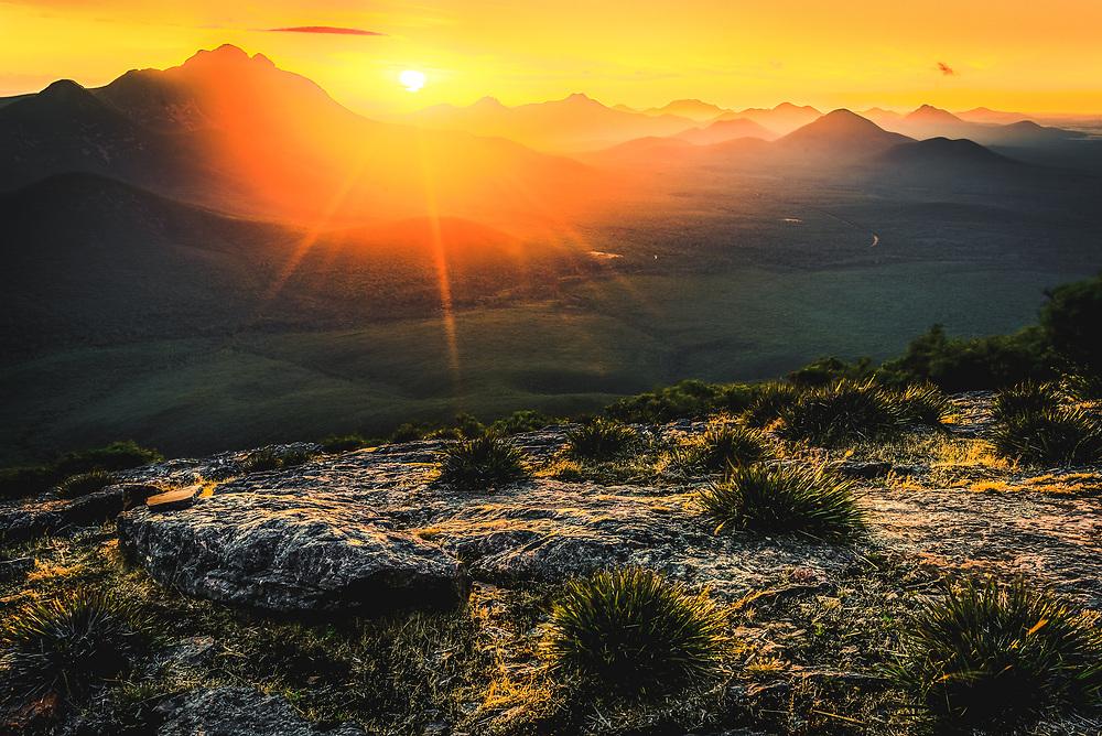 Sunset over Stirling Range from mt Trio, Western Australia