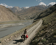 Trekking with donkey. The traditional life of the Wakhi people, in the Wakhan corridor, amongst the Pamir mountains.