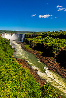 Iguazu Falls (Iguacu in Portugese), on the border of Brazil and Argentina. It is one of the New 7 Wonders of Nature and is a UNESCO World Heritage Site. There are 275 waterfalls total which make up the largest waterfalls in the world.