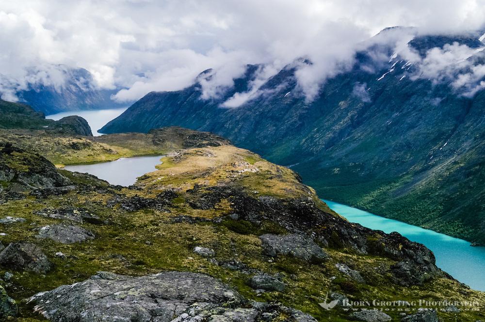 Norway, Jotunheimen. The mountains above Gjende Lake between Storådalen and Memurubu.