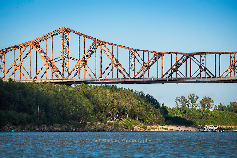 Huey P. Long Bridge or the Old Mississippi River Bridge crosses the Mississippi River north of Baton Rouge, La.