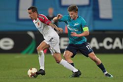 November 23, 2017 - Russia - midfielder Juan Felipe Ribeiro of FC Vardar and midfielder Oleg Shatov of FC Zenit during UEFA Europa League Football match Zenit - Vardar. Saint Petersburg, November 23,2017 (Credit Image: © Anatoliy Medved/Pacific Press via ZUMA Wire)