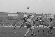 Two players challenge for the ball during the All Ireland Senior Gaelic Football Final Dublin v Kerry in Croke Park on the 26th September 1976. Dublin 3-08 Kerry 0-10.