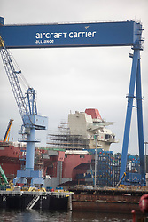 Prince of Wales Aircraft Carrier under construction at the Babcock site in Rosyth dockyard.