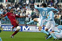 Roma 21/4/2004 Campionato Italiano Serie A <br />Lazio - Roma 1-1 <br />Emrson (Roma) challenged by Paolo Negro (Lazio)<br />Lazio and Roma are playing again after it was suspended on March 21, 2004, for security reasons.  <br />Foto Andrea Staccioli Graffiti