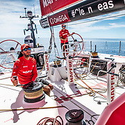 Leg 6 to Auckland, day 21 on board MAPFRE, Blair Tuke trimming, Rob Greenhalgh stearing. 27 February, 2018.
