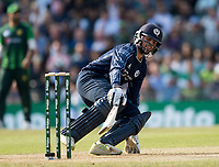 EDINBURGH, SCOTLAND - JUNE 12: Scotland's Calum MacLeod on his way to a disappointing 12 in the first of 2 Twenty20 Internationals at the Grange Cricket Club on June 12, 2018 in Edinburgh, Scotland. (Photo by MB Media/Getty Images)
