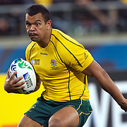 Kurtley Beale, Australia, in action during the Australia V USA, Pool C match during the IRB Rugby World Cup tournament. Wellington Stadium, Wellington, New Zealand, 23rd September 2011. Photo Tim Clayton...