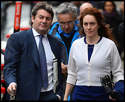 Former News of the World Editor Rebekah Brooks with her husband Charlie arrive at The Old Bailey, London, United Kingdom, for  the Phone hacking trial Thursday, 20th February 2014. Picture by Andrew Parsons / i-Images