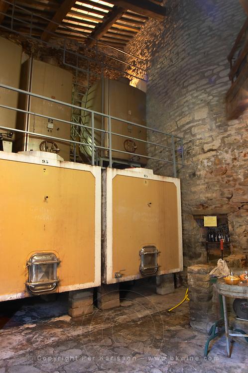 Domaine Piccinini in La Liviniere Minervois. Languedoc. Concrete fermentation and storage vats. France. Europe.