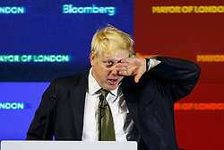 © Licensed to London News Pictures. 06/08/2014. LONDON, UK. Mayor of London, Boris Johnson delivers a speech on Europe at Bloomberg HQ in central London and confirms intention to stand as an MP for the Conservative Party at the next general election. Photo credit : Tolga Akmen/LNP