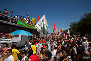Anti impeachment protest demonstration on April 17th 2016 in Rio De Janeiro. This was the day of the impeachment vote for Brazils president Dilma Roussef, thousands took to the streets across the country. Here, protests in Copacanbana were held, organised by independent community music organisations Rhythm of the Favela, Apa-funk, Furaco 2000, in associaiton with the Workers Party PT.