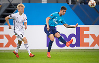 ST PETERSBURG, RUSSIA - OCTOBER 19, 2017. UEFA Europa League group stage: Zenit St Petersburg (Russia) 3 – 1 Rosenborg BK (Norway). Rosenborg's Birger Meling (L) and Zenit St Petersburg's Emiliano Rigoni (R)/