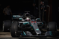 March 1, 2018 - Barcelona, Catalonia, Spain - LEWIS HAMILTON (GBR) in his Mercedes W09 EQ Power + at the pit stop at day four of Formula One testing at Circuit de Catalunya. (Credit Image: © Matthias Oesterle via ZUMA Wire)