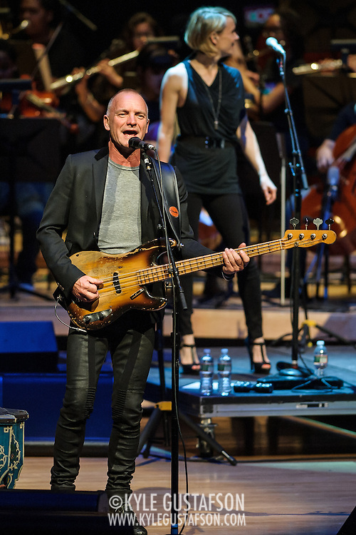 NORTH BETHESDA, MD - March 12th, 2014 - Sting performs at the Strathmore Music Hall with students from The Duke Ellington School of the Arts during a fundraising event for the school. Over 1 million dollars was raised with the event, which also featured a performance from Paul Simon. (Photo by Kyle Gustafson / For The Washington Post)