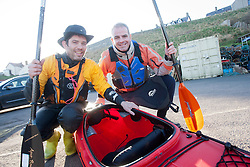 Scottish Sun sports editor Iain King takes part in a practise session for his charity kayak challenge, in the waters of the harbour at St Abbs. Pic with Richard Harpham..Pic © Michael Schofield...