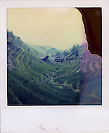 Polaroid SX70 picture of a rice fields landscape in Ping'An, Guangxi province, China, Asia