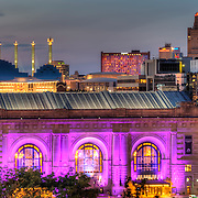 Front of Union Station with the Kauffman Center for the Performing Arts in the background, downtown Kansas City, Missouri.