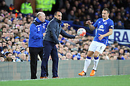 Everton Manager Roberto Martinez hands the ball to Phil Jagielka of Everton. The Emirates FA cup, 3rd round match, Everton v Dagenham & Redbridge at Goodison Park in Liverpool on Saturday 9th January 2016.<br /> pic by Chris Stading, Andrew Orchard sports photography.