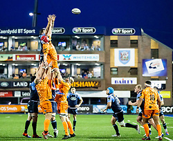 Cory Hill of Dragons goes for the high ball<br /> <br /> Photographer Simon King/Replay Images<br /> <br /> Guinness PRO14 Round 9 - Cardiff Blues v Dragons - Thursday 26th December 2019 - Cardiff Arms Park - Cardiff<br /> <br /> World Copyright © Replay Images . All rights reserved. info@replayimages.co.uk - http://replayimages.co.uk