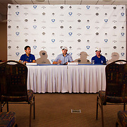 American Junior Golf Association players Jordan Spieth and Grayson Murray speak at a press conference at the Thunderbird International Junior tournament.  AJGA's Chris Richards leads the conference.