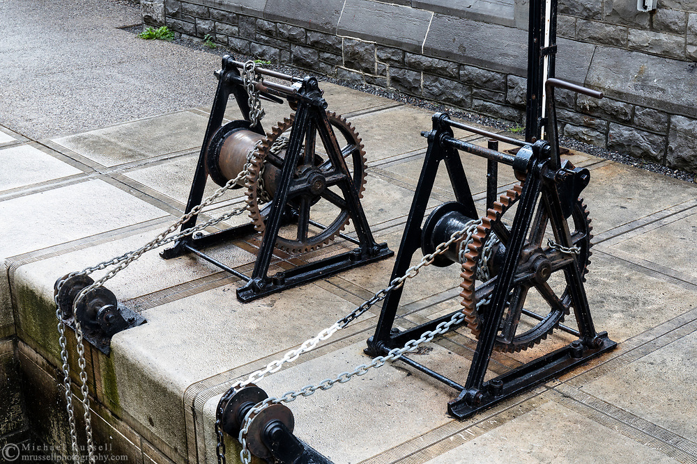 Two Lock Winches (called Crabs) at the Rideau Canal in Ottawa (Locks 1-8) in Ottawa, Ontario, Canada.
