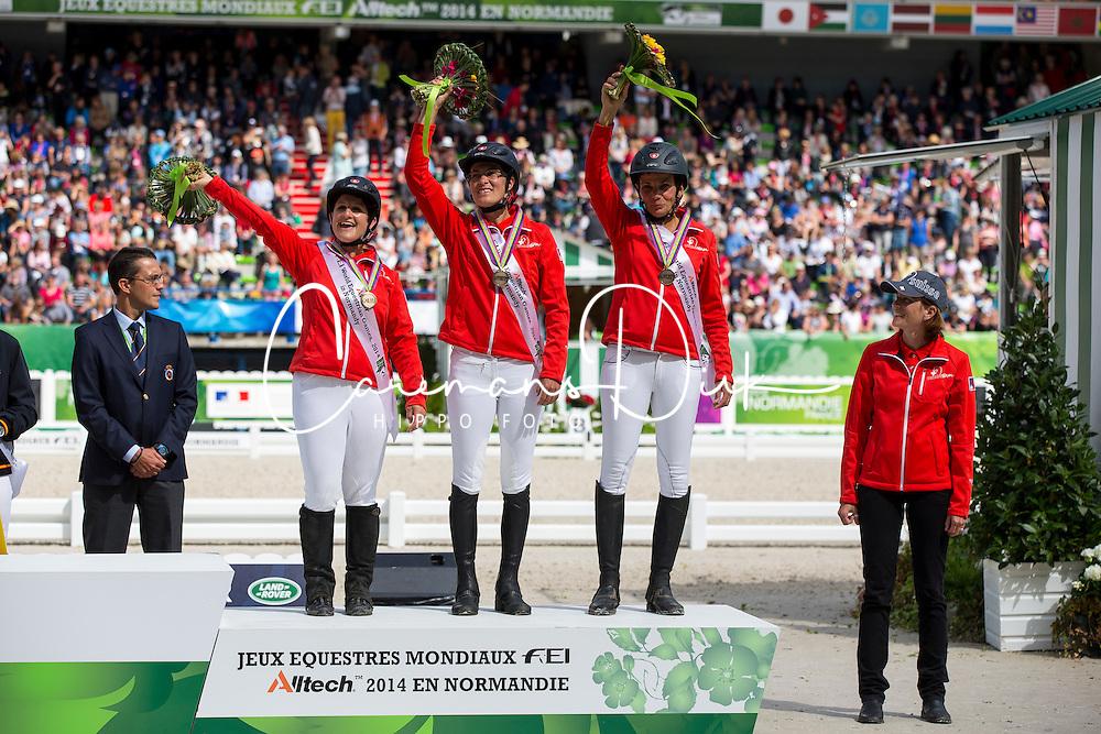 Team Switzerland 3th place Team Test - Endurance - Alltech FEI World Equestrian Games™ 2014 - Normandy, France.<br /> © Hippo Foto Team - Dirk Caremans<br /> 29/08/14