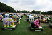 An exhibition of elephants takes place in the grounds of the Royal Hospital Chelsea as part of the Elephant Parade London.