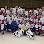 Iceland celebrate winning the tournament after defeating China 5-1  during the 2012 IIHF Ice Hockey World Championships Division 3 held at Dunedin Ice Stadium. Dunedin, Otago, New Zealand. 22nd January 2012. Photo Tim Clayton