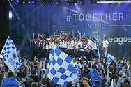 Brighton players celebrate on stage during the Brighton & Hove Albion Football Club Promotion Parade at Brighton Seafront, Brighton, United Kingdom on 14 May 2017. Photo by Phil Duncan.