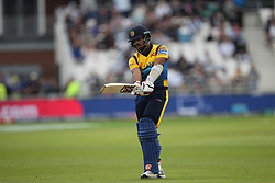 June 21, 2019 - Leeds, Yorkshire, United Kingdom - Kusal Mendis of Sri Lanka leaves the field after being out to Adil Rashid \during the ICC Cricket World Cup 2019 match between England and Sri Lanka at Headingley Carnegie Stadium, Leeds on Friday 21st June 2019. (Credit Image: © Mi News/NurPhoto via ZUMA Press)