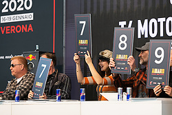 Celebrity judging panel including (L>R) Bagger Nation's Paul Yaffe, the Buffalo Chip's Rod Woody Woodruff, Brittney Olsen of Carl's Cycle and Andreas Bergerforth and Kim Lara Bergerforth of Thunderbike Germany at Motor Bike Expo (MBE) bike show. Verona, Italy. Friday, January 17, 2020. Photography ©2020 Michael Lichter.