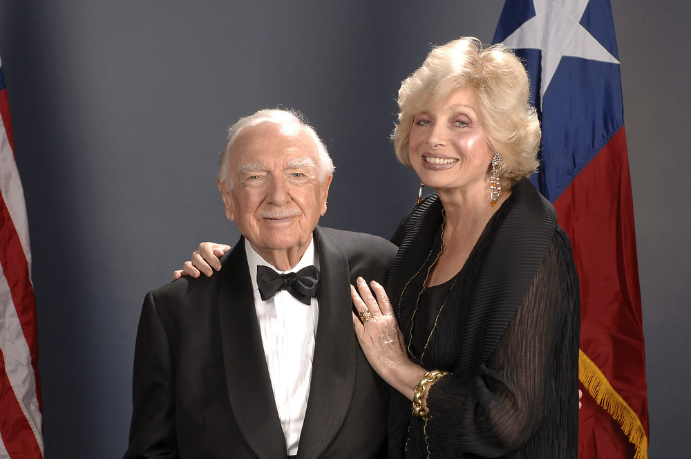 Austin, TX March 1, 2006:  Walter Cronkite (89) and new fiancee Joanna Simon (65) pose while greeting guests at a Texas Independence Day fete at the Texas State History Museum. ©Bob Daemmrich