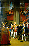 Francois I (1494-1547), King of France from 1515, and Charles V (1500-1558), Holy Roman Emperor from 1519, visiting the tomb of St Denis, patron saint of Paris, 13 January 1540. Painting by Norblin after Anton Jean Gros (1771-1835).