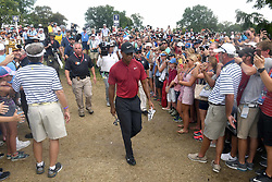 August 12, 2018 - St. Louis, Missouri, U.S. - ST. LOUIS, MO - AUGUST 12: Tiger Woods is greeted by fans as he walks to the #2 tee during the final round of the PGA Championship on August 12, 2018, at Bellerive Country Club, St. Louis, MO.  (Photo by Keith Gillett/Icon Sportswire) (Credit Image: © Keith Gillett/Icon SMI via ZUMA Press)