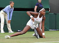 Tennis - 2019 Wimbledon Championships - Week One, Monday (Day One)<br /> <br /> Women's Singles, 1st Round: Venus Williams (USA) v Cori Gauff (USA)<br /> <br /> Cori Gauff (USA) slips on the grass on Court 1<br /> <br /> COLORSPORT/ANDREW COWIE