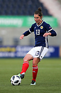 Jane Ross (#13) of Scotland plays a short pass during the FIFA Women's World Cup UEFA Qualifier match between Scotland Women and Belarus Women at Falkirk Stadium, Falkirk, Scotland on 7 June 2018. Picture by Craig Doyle.
