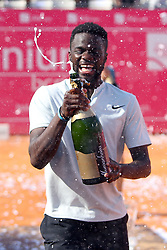 May 6, 2018 - Estoril, Portugal - Frances Tiafoe of US celebrates after lost the Millennium Estoril Open ATP 250 tennis tournament final against Joao Sousa of Portugal, at the Clube de Tenis do Estoril in Estoril, Portugal on May 6, 2018. (Credit Image: © Pedro Fiuza via ZUMA Wire)
